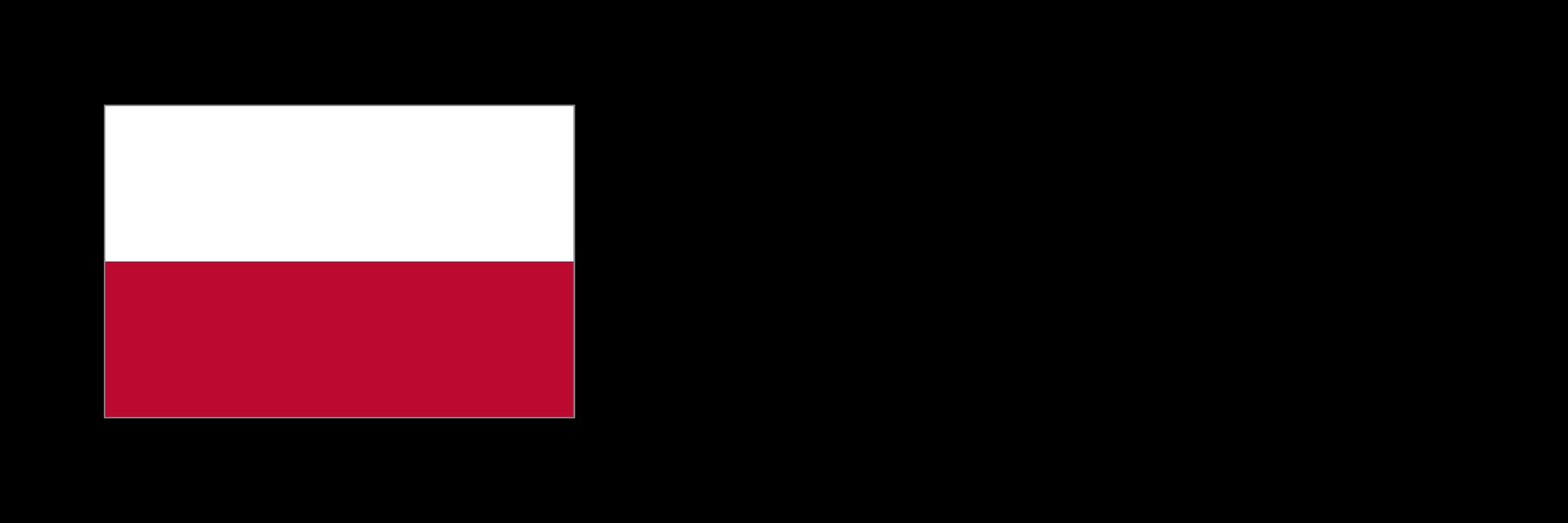 Flaga Polski, obok napis: Rzeczpospolita Polska