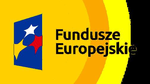 Na Niebieskim polu trzy gwiazdy w kolorze białym, żółtym i czerwonym. Z prawej strony napis Fundusze Europejskie.