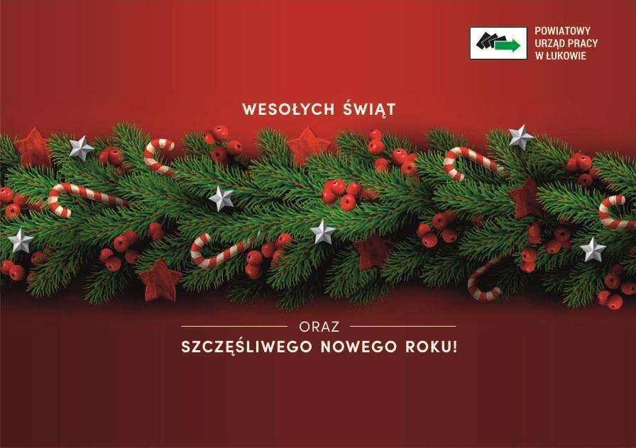 """Na środku gałązka świerku z ozdobami świątecznymi. Na górze napis """"Wesołych Świąt"""", na dole """"oraz szczęśliwego Nowego Roku"""""""